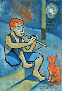 Boy With Orange Cat - Holewinski