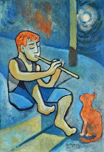 Boy With Orange Cat - Holewinski