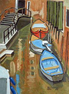 Boats In A Venetian Canal - Holewinski