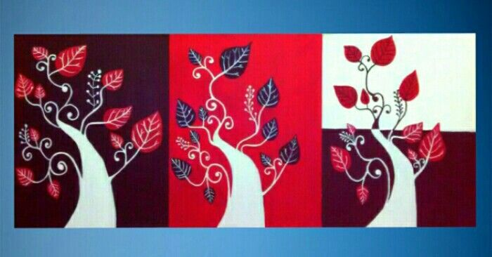 Set of 3 trees with Leaves - Shah paintings