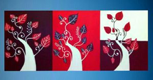 Set of 3 trees with Leaves