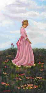 Young Girl in Field of Flowers