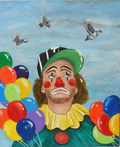 Clown Bombed BY Pigeons/Orig'l $295