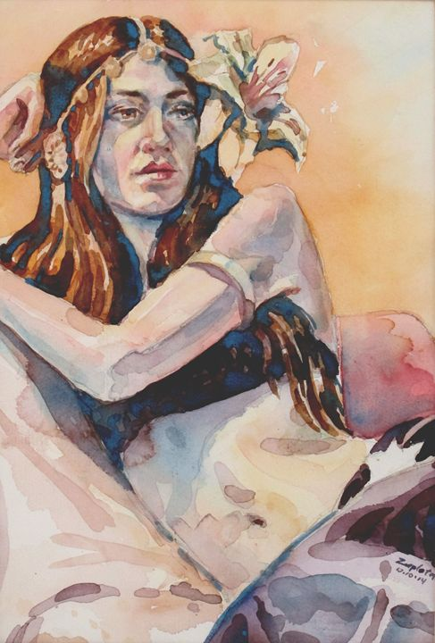 Belly Dancer with flower in Hair - Zaplatar Art