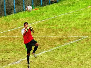 Goalkeeper in action