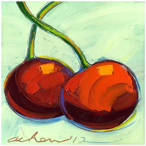 Brilliant Cherries 10x10 Modern Art