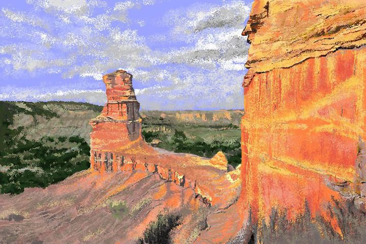Lighthouse Rock, Palo Duro Canyon - C. K. Boyd Art