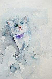 "Kitty, 12x9"", Original Watercolor"