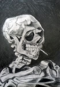 smoking skull van gogh