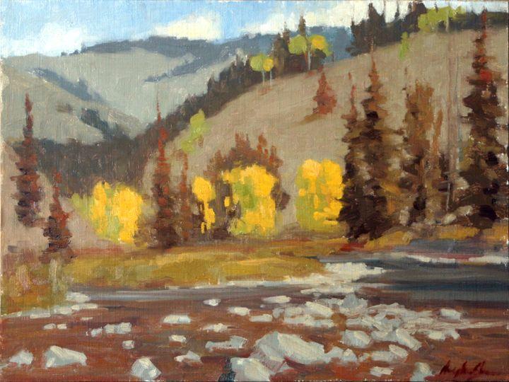 Yellow Aspen Plein aire sketch - DoyleShaw