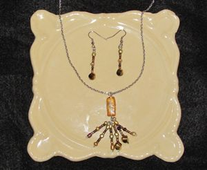 Copper Color Bead Tassel Jewelry Set