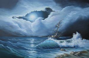 Moonlight on the Ocean,oil, 24x36in