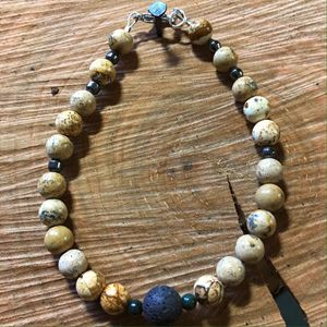 Jasper and lava men's bracelet