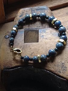 Men's lapis and brass nut bracelet