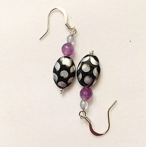 Black and silver dot earrings