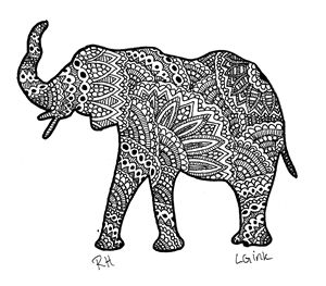 elephant zentangle motive