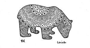 panda zentangle motive