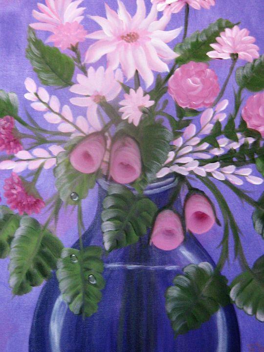 Pink Bouquet w/Blue Glass Vase - Brenda Williams
