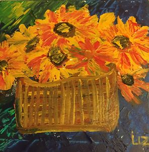 Sunflowers in a Basket
