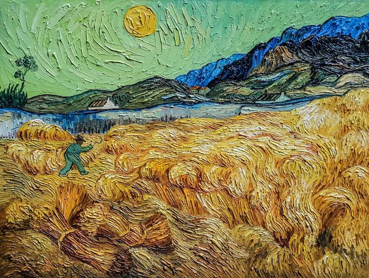 Wheat Field with Reaper and Sun - Paint Our Days