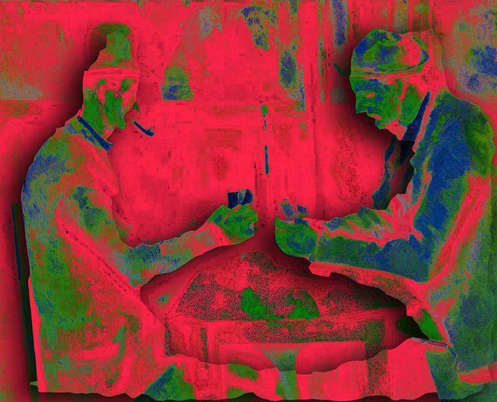 "REMIX-1 Cézanne's ""The Card Players"" - VERNON HOWL ART PRINTS"