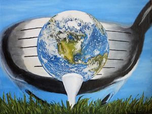 EARTH TEED UP! 12X16 OIL CANVAS