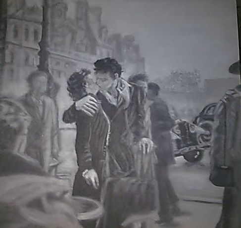 the kiss in front of the cityhall - Vintage paintings by Kaytee