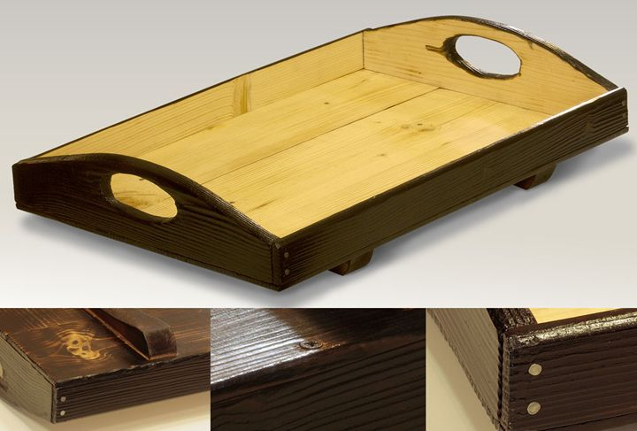 Large and stable wooden serving tray - ZHEKO