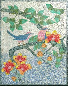 Two Birds EggShell Mosaic