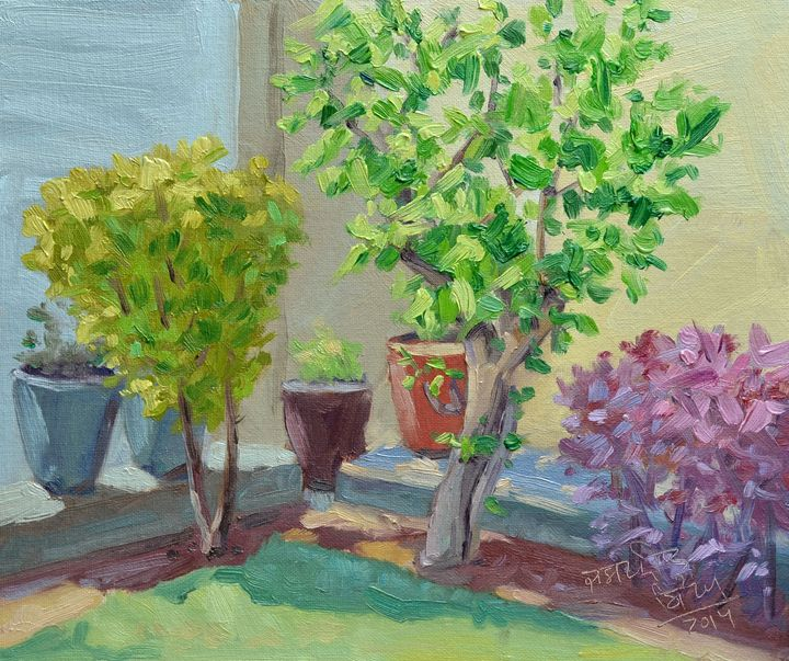 Light in Garden Plein Air painting - Jaspreet Singh Art