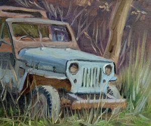 Old Jeep at Junkyard plein air paint