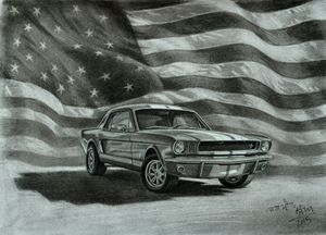 Mustang with American Flag