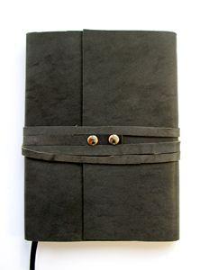 Leather Journal Gray Leather Wrap - Deborah Tveter