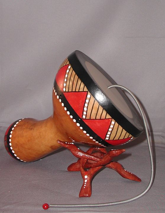Thunder Drum with stand - LaDeDa Gourds - Karen L Caldwell