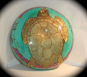 Ocean Drum Turtle - SOLD - LaDeDa Gourds - Karen L Caldwell