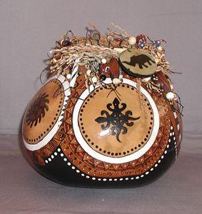 West African Adinkra Vessel - LaDeDa Gourds - Karen L Caldwell