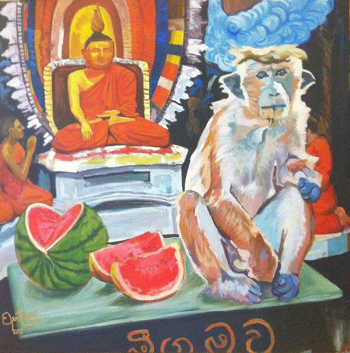Monkey in temple - PaplepelPaintings