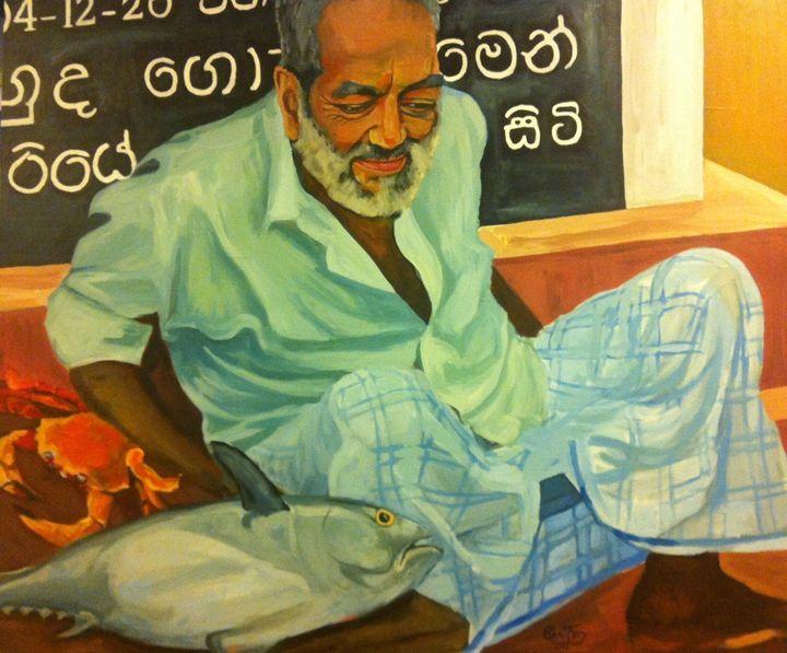 Fishseller Sri Lanka - PaplepelPaintings
