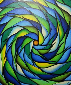 Verdant and blueish spiral