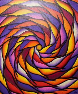 Reddish and purplish spiral