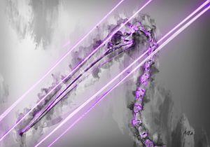 Purple Pelican animal skeleton art
