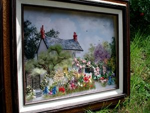 Cottage garden silk embroidery