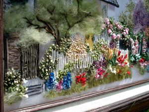 White cottage Garden silk Embroidery