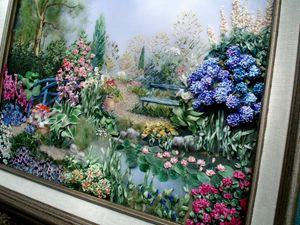 Water garden silk ribbon embroidery.