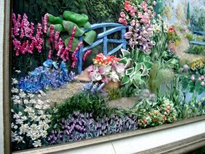 Silk ribbon embroidery. Water Garden