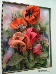 Silk Ribbon Flowers. Poppies.