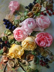 English roses silk ribbon embroidery
