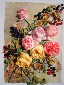 English roses in silk