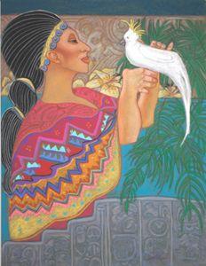 Mayan Priestess her bird