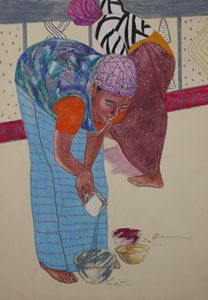 african woman painting their home
